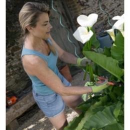 gants de jardinage femme confort vert anis