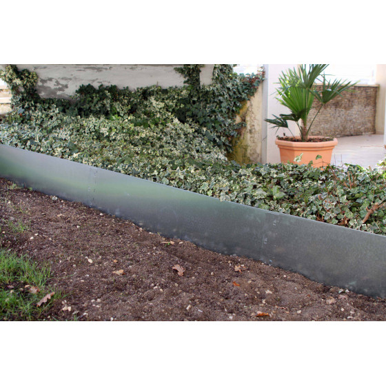 Bordure de jardin en acier galvanisé brut H 25 cm