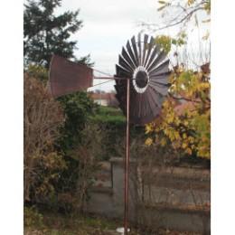 """Eolienne décorative de jardin LED et en métal """"style US"""""""