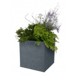 Bac à fleurs carre bas 31 litres gris anthracite