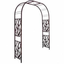 Arche de jardin double décor végétal en acier fer vieilli