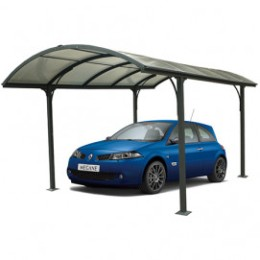 Carport en aluminium gris pour 1 voiture avec toît  1/2 rond  en polycarbonate