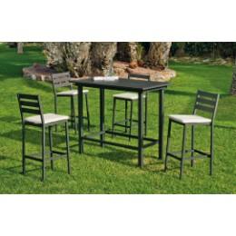 Ensemble mange debout exterieur et 4 chaises en aluminium