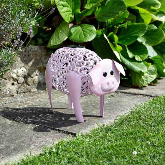 Le cochon décoratif solaire en métal peint