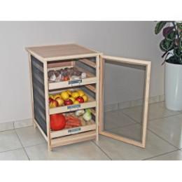Garde manger légumier fruitier bas en bois 3 tiroirs