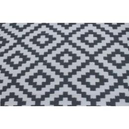 Tapis d'extérieur pour terrasse gris et blanc 120 cm x 180 cm
