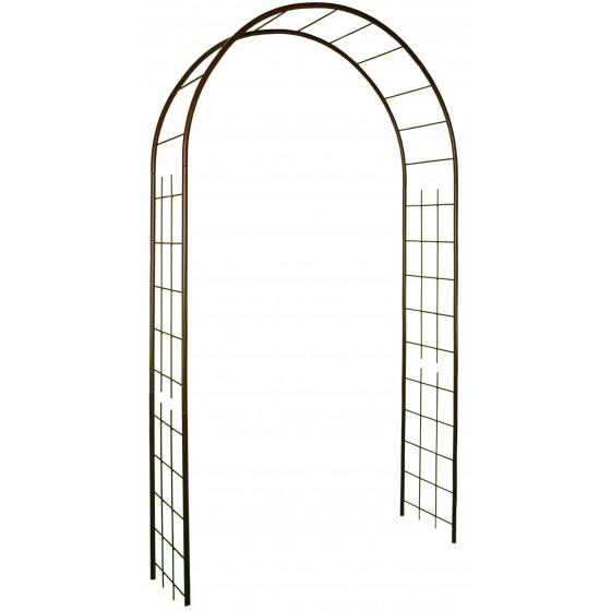 Arche de jardin double treillage en acier fer vieilli