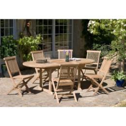 Table en teck extensible ovale et 6 chaises de jardin en teck
