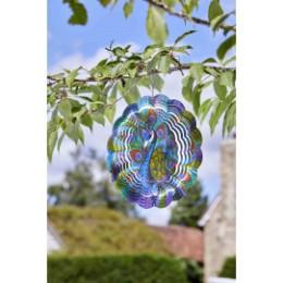 Mobile a vent en metal décor paon diamètre 30 cm