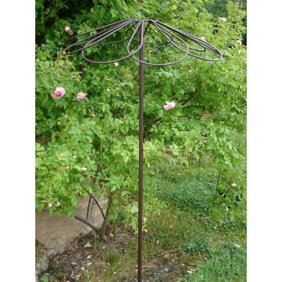 Tuteur parapluie pour rosier pleureur 9 pétales en acier fer vieilli