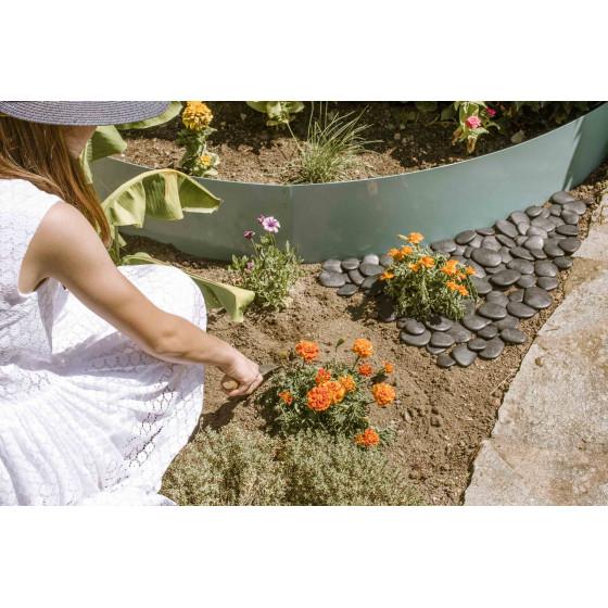 Bordure de jardin en acier vert d'eau H 25 cm