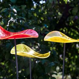 cazador del sol 3 fleurs ondulées jaune citron et rouge 120 cm