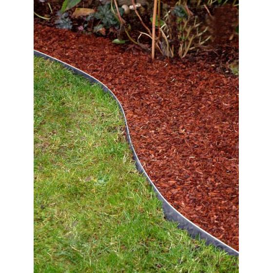 Bordure de jardin en acier galvanisé brut H 14 cm